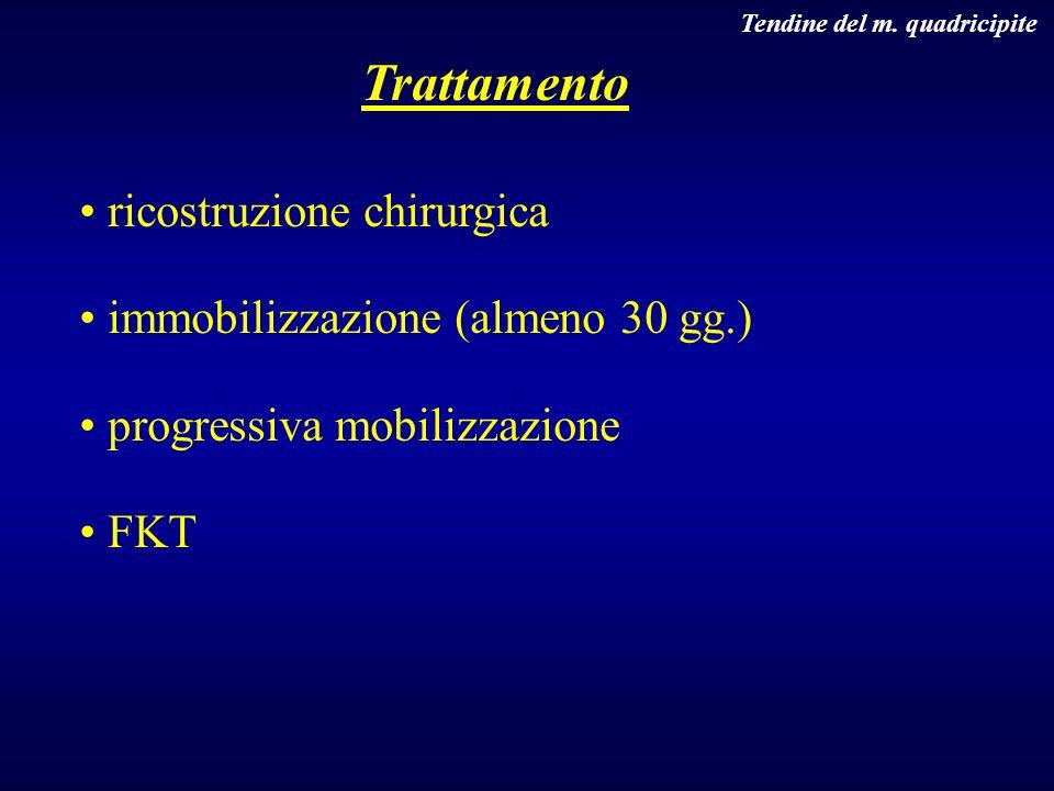 Trattamento ricostruzione chirurgica immobilizzazione (almeno 30 gg.)