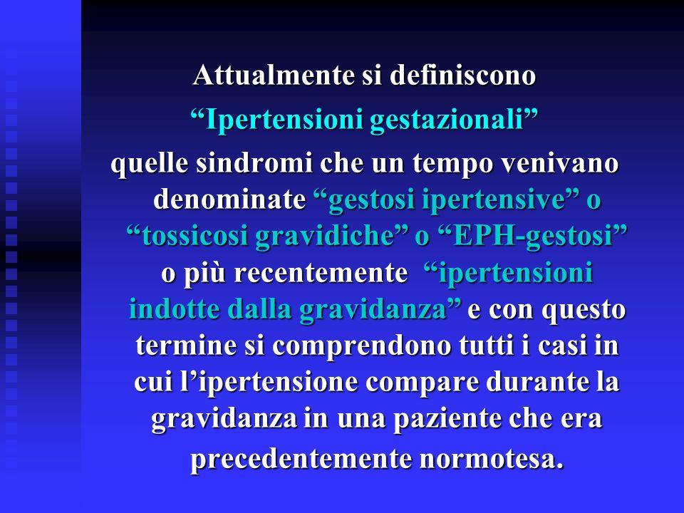 Attualmente si definiscono Ipertensioni gestazionali