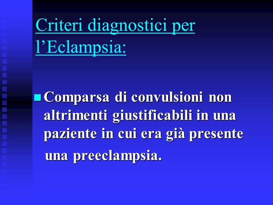 Criteri diagnostici per l'Eclampsia:
