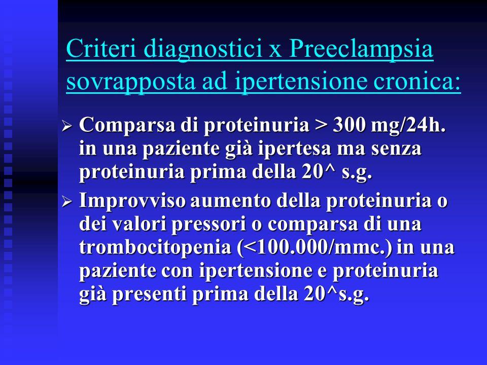 Criteri diagnostici x Preeclampsia sovrapposta ad ipertensione cronica: