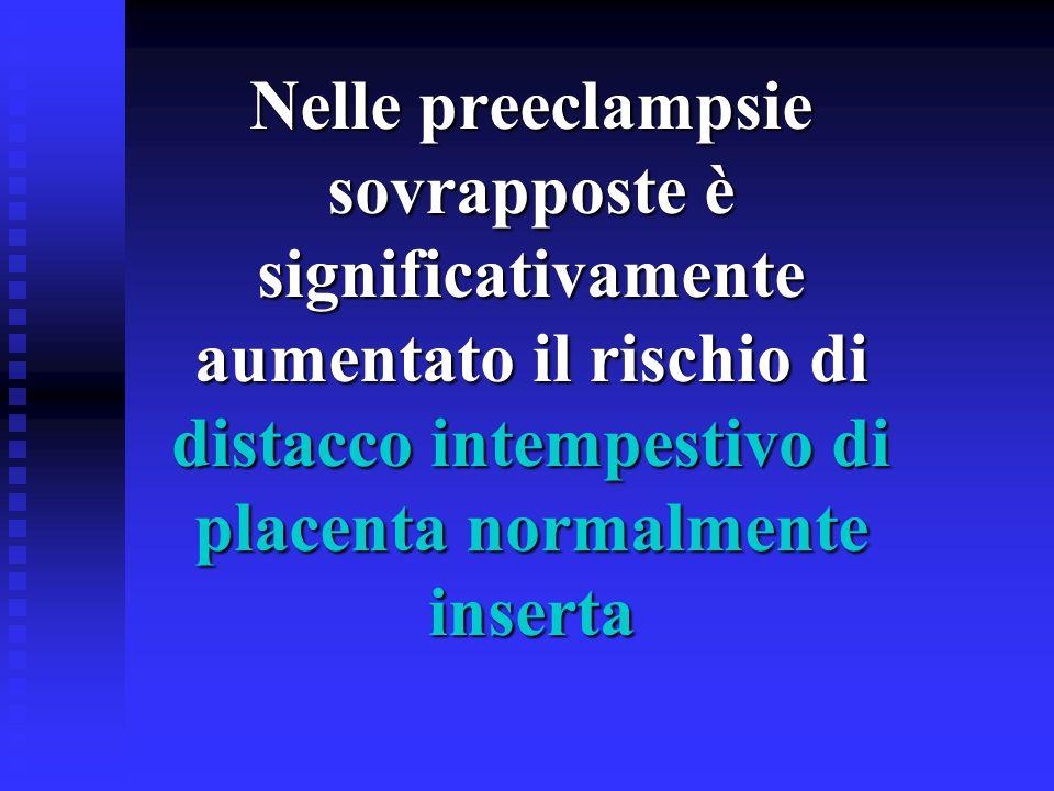 Nelle preeclampsie sovrapposte è significativamente aumentato il rischio di distacco intempestivo di placenta normalmente inserta