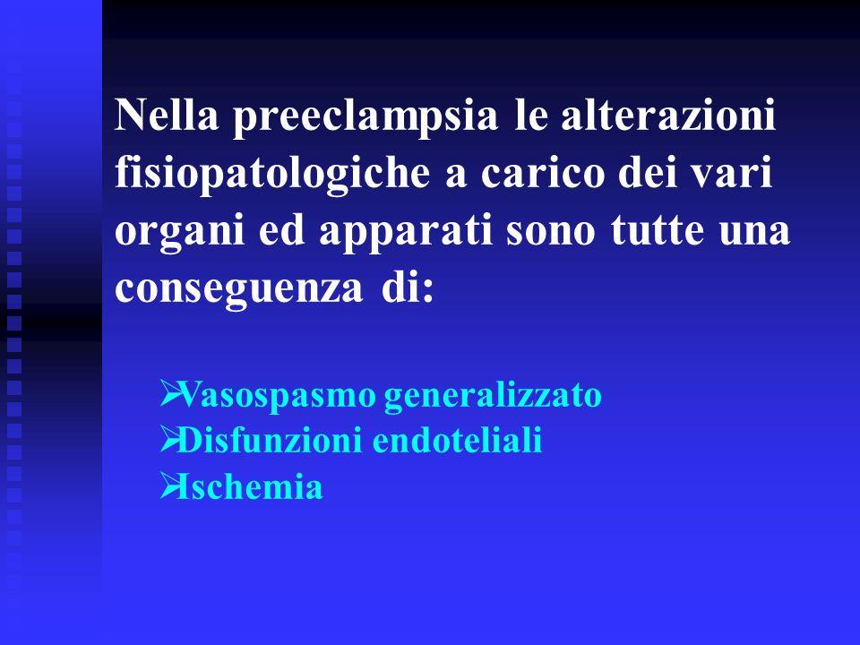 Nella preeclampsia le alterazioni fisiopatologiche a carico dei vari organi ed apparati sono tutte una conseguenza di: