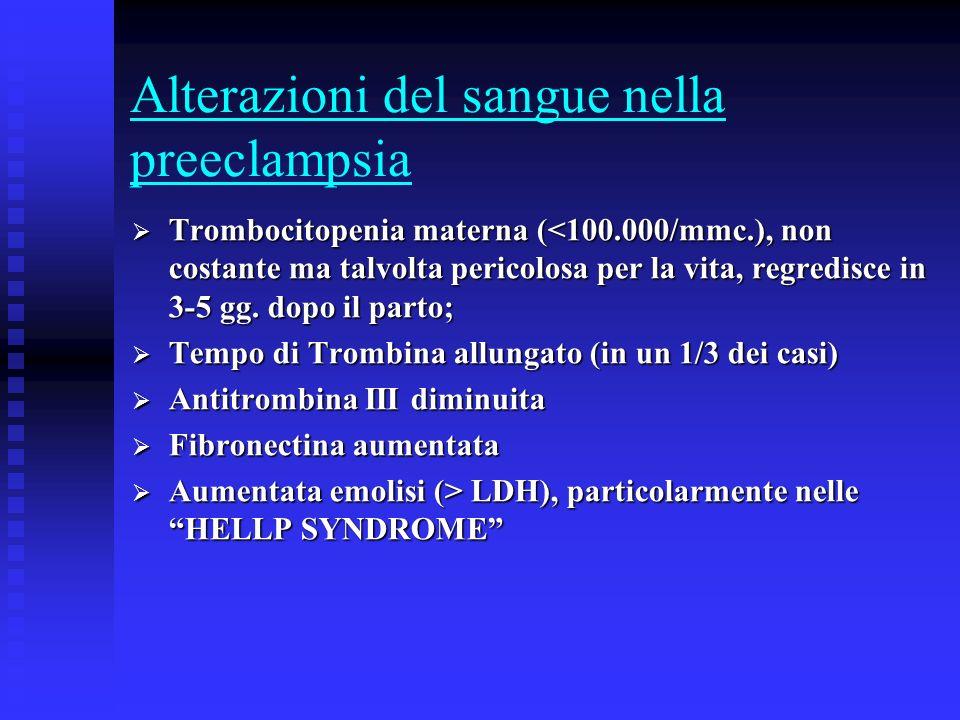 Alterazioni del sangue nella preeclampsia