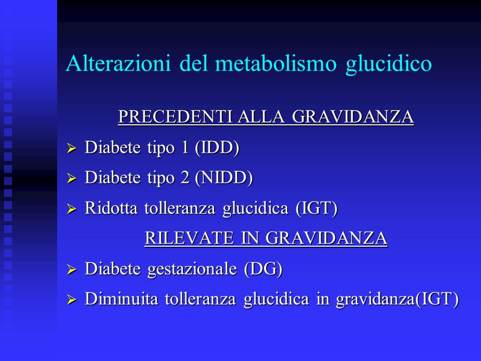 Alterazioni del metabolismo glucidico