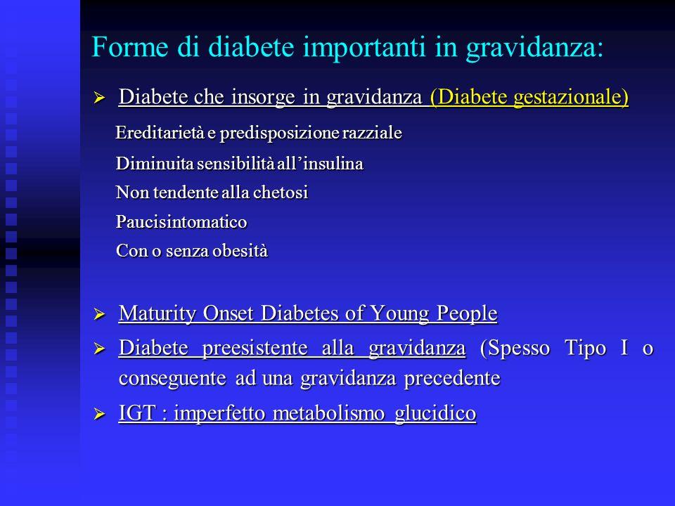Forme di diabete importanti in gravidanza: