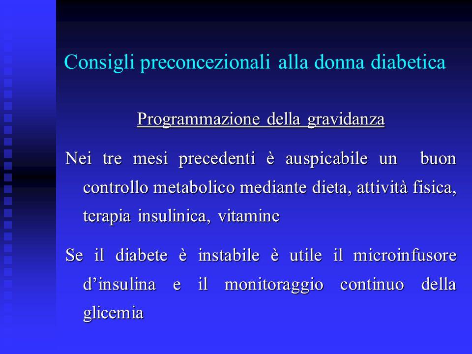 Consigli preconcezionali alla donna diabetica