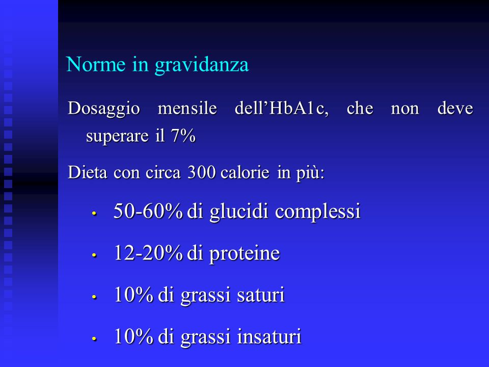 50-60% di glucidi complessi 12-20% di proteine 10% di grassi saturi