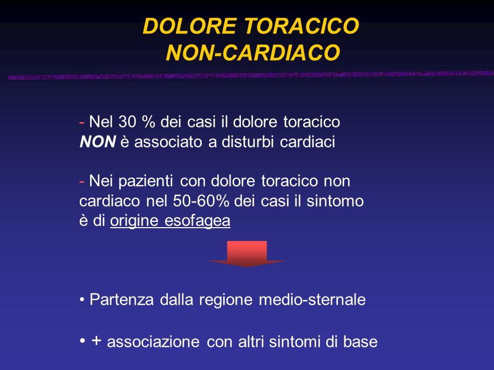 NON-CARDIACO + associazione con altri sintomi di base DOLORE TORACICO