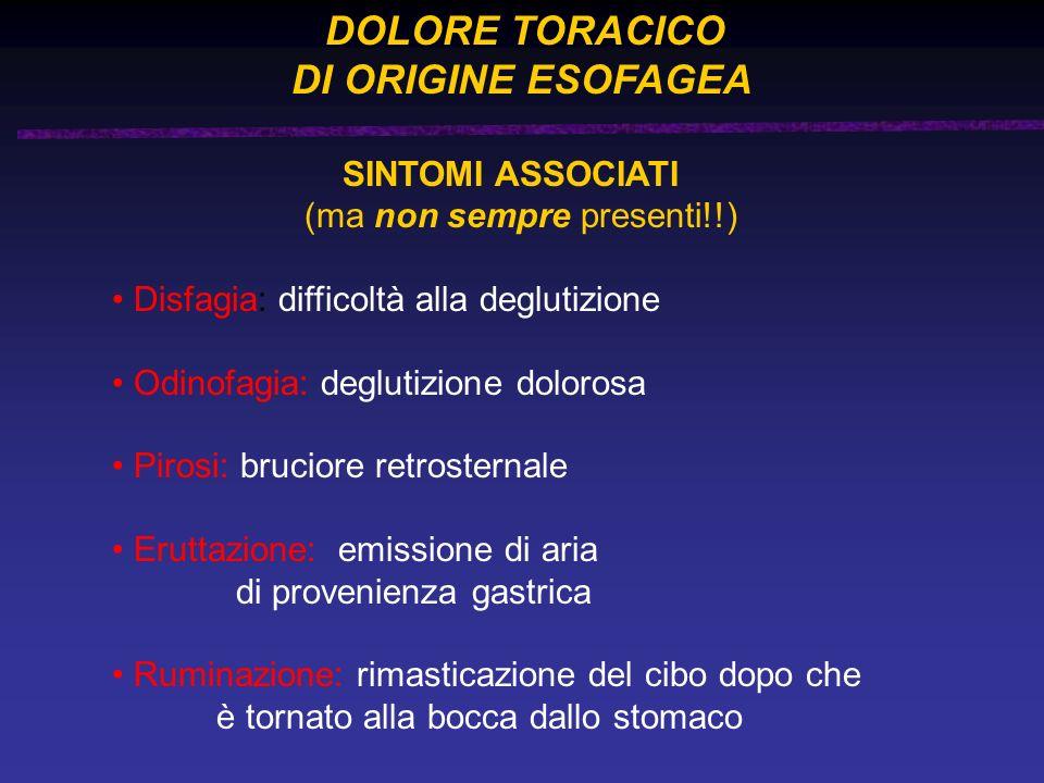 DI ORIGINE ESOFAGEA DOLORE TORACICO SINTOMI ASSOCIATI