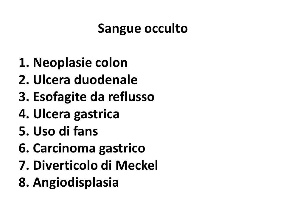 Sangue occulto 1. Neoplasie colon. 2. Ulcera duodenale. 3. Esofagite da reflusso. 4. Ulcera gastrica.