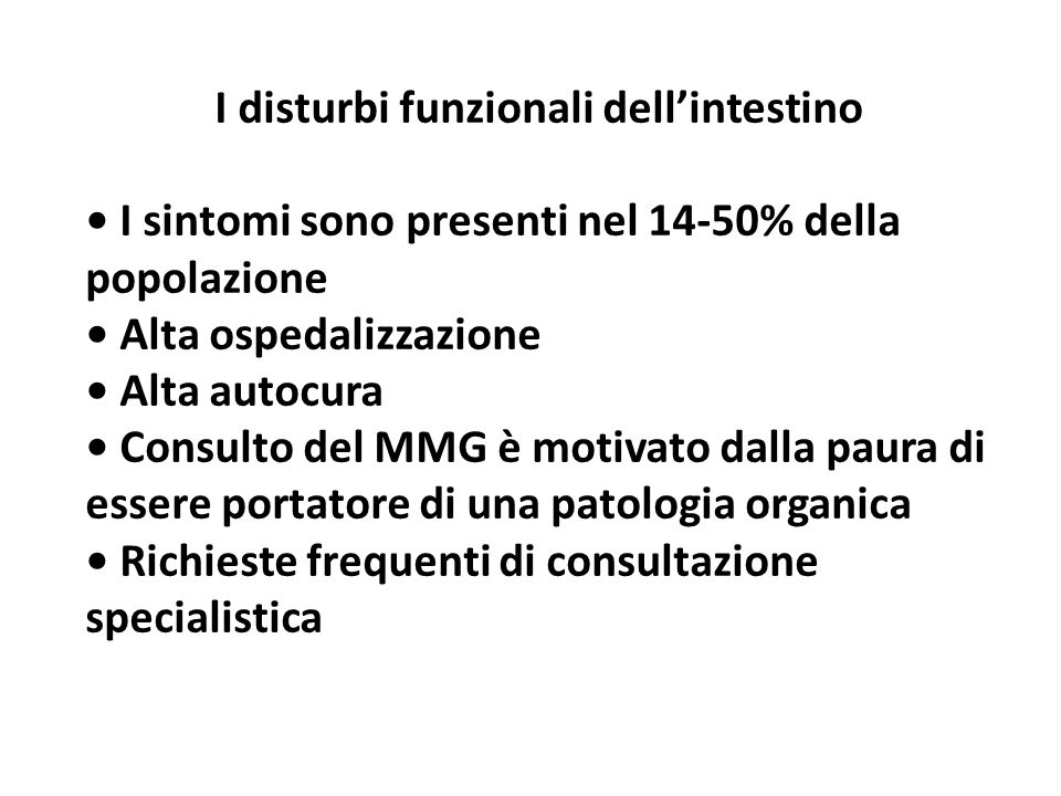 I disturbi funzionali dell'intestino