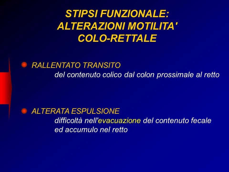 STIPSI FUNZIONALE: ALTERAZIONI MOTILITA COLO-RETTALE