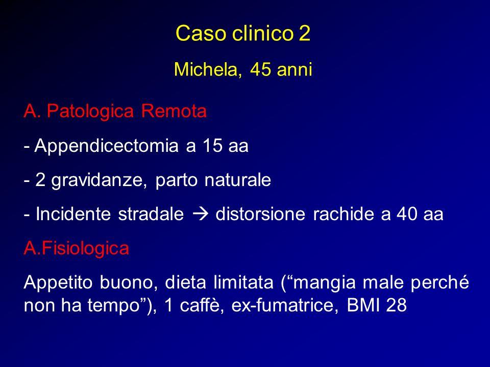 Caso clinico 2 Michela, 45 anni A. Patologica Remota