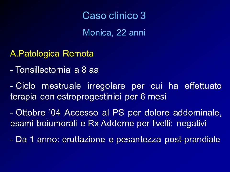 Caso clinico 3 Monica, 22 anni A.Patologica Remota