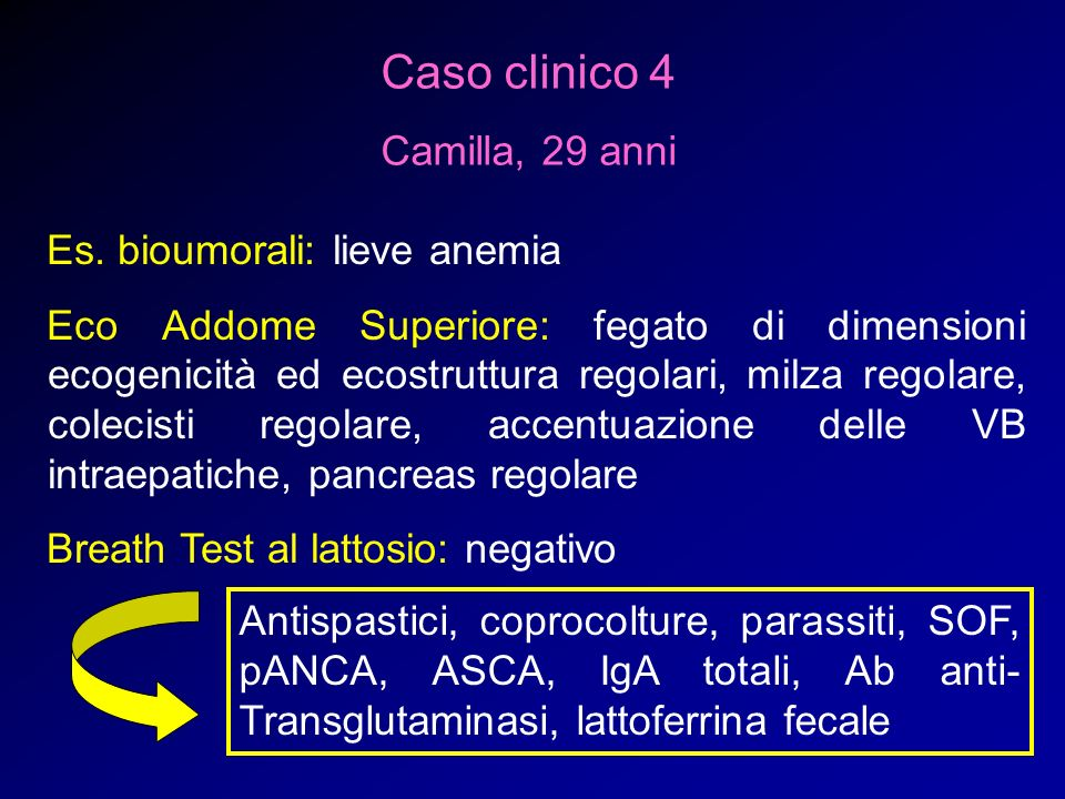 Caso clinico 4 Camilla, 29 anni Es. bioumorali: lieve anemia