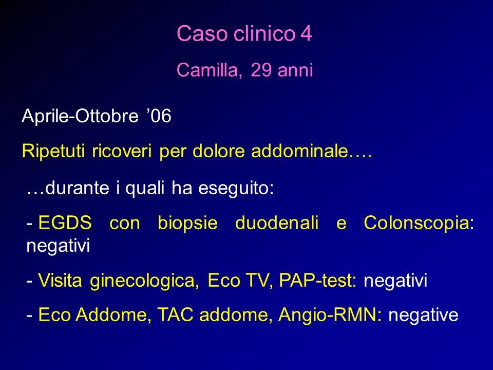 Caso clinico 4 Camilla, 29 anni Aprile-Ottobre '06