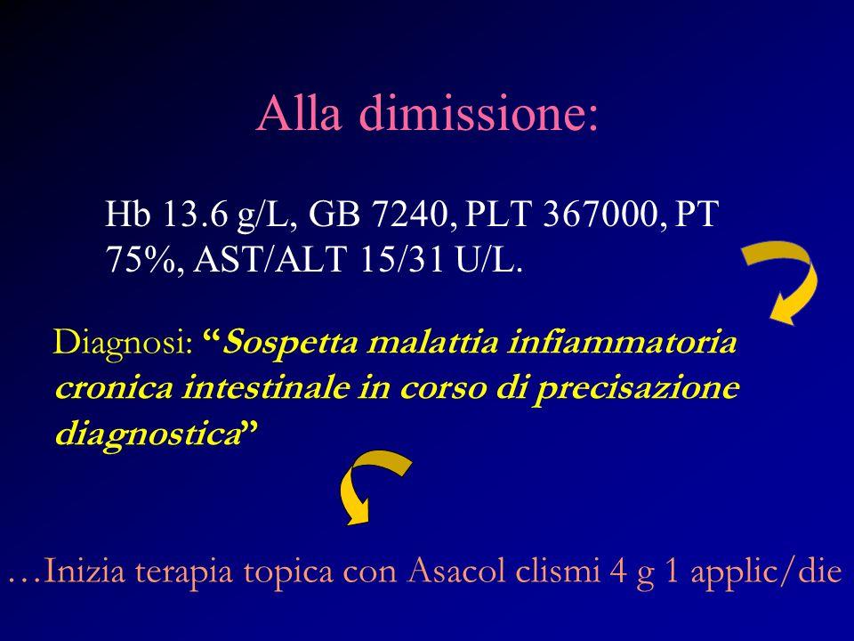 Alla dimissione: Hb 13.6 g/L, GB 7240, PLT 367000, PT 75%, AST/ALT 15/31 U/L.