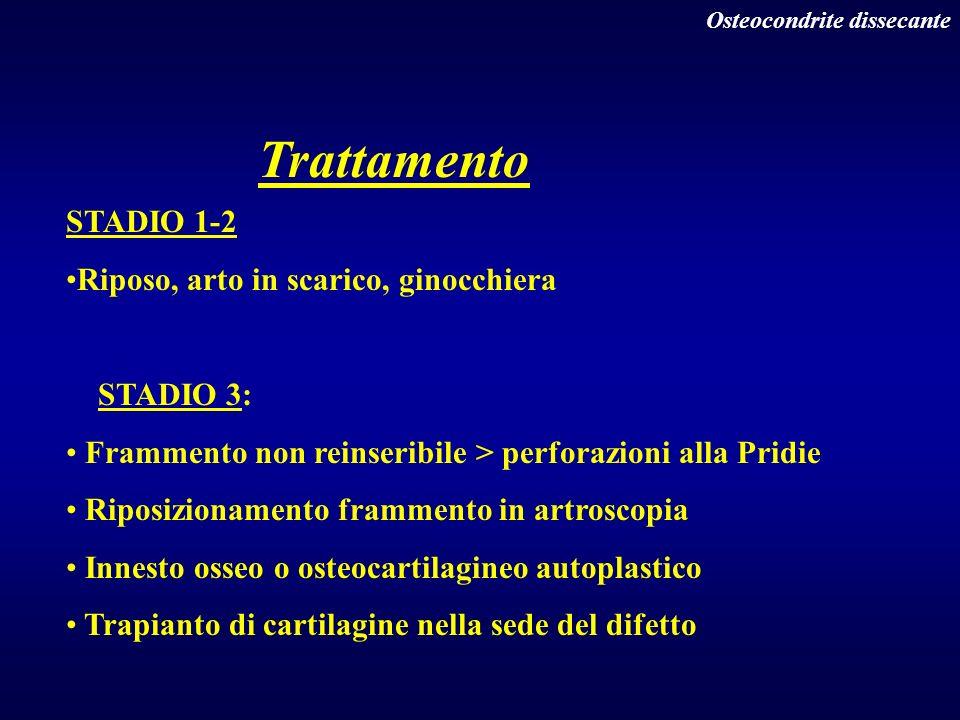 Trattamento STADIO 1-2 Riposo, arto in scarico, ginocchiera STADIO 3: