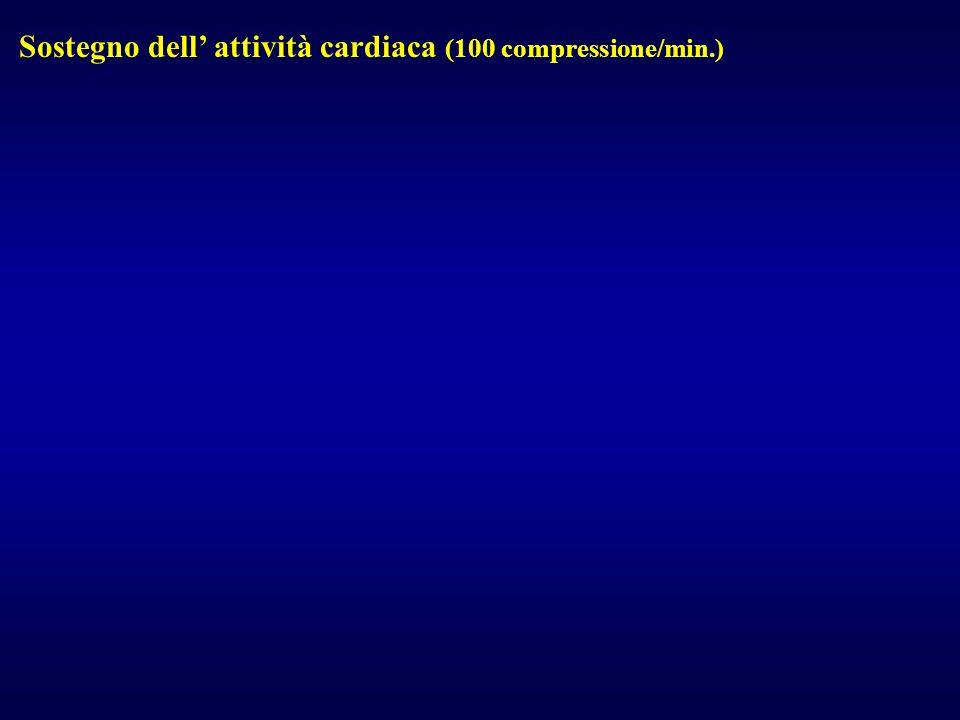 Sostegno dell' attività cardiaca (100 compressione/min.)