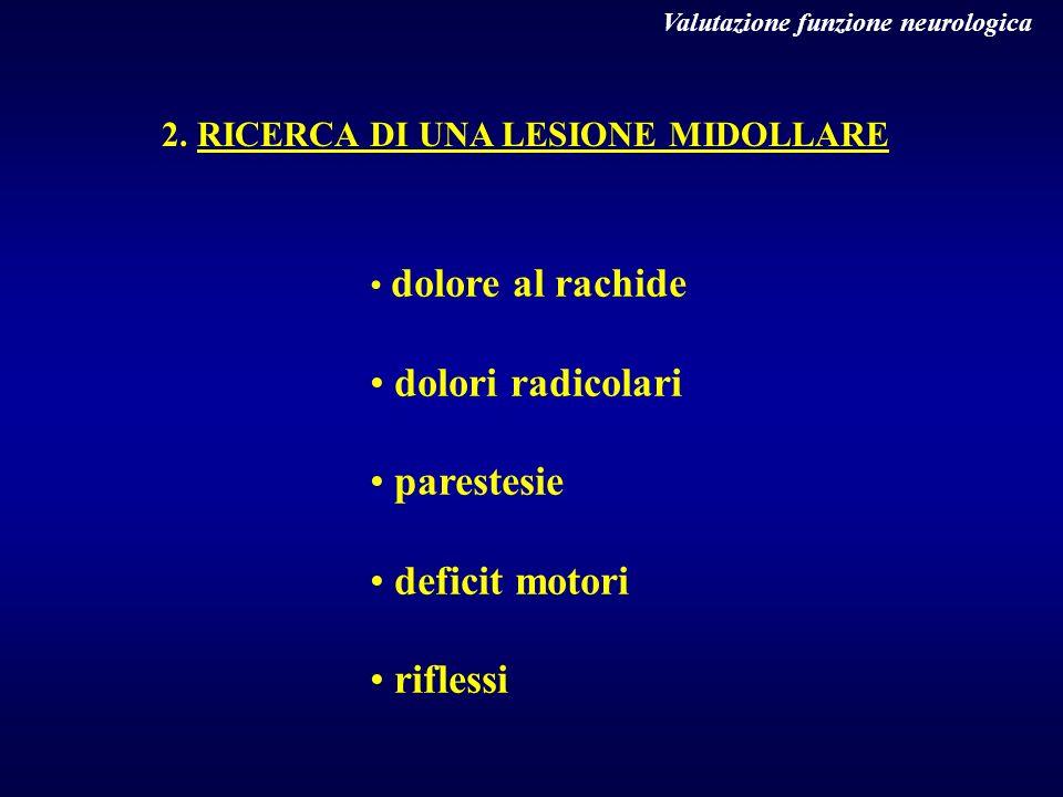 dolori radicolari parestesie deficit motori riflessi