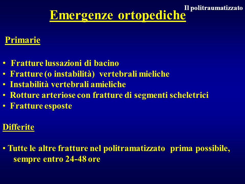 Emergenze ortopediche