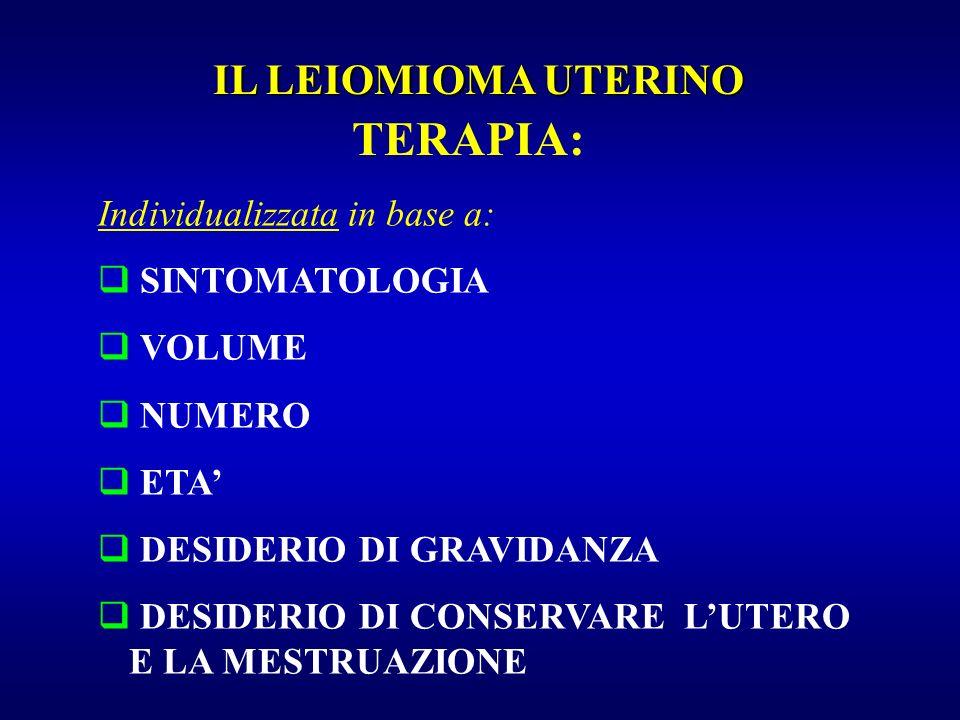 TERAPIA: IL LEIOMIOMA UTERINO Individualizzata in base a: