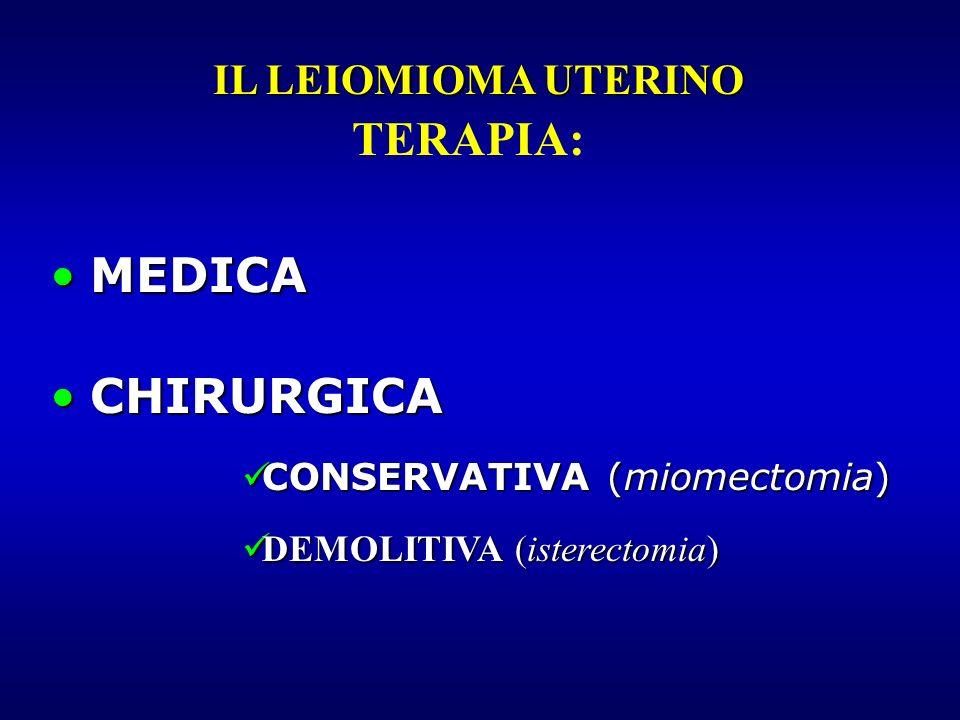 TERAPIA: MEDICA CHIRURGICA IL LEIOMIOMA UTERINO
