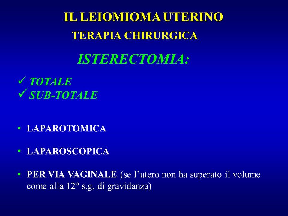 ISTERECTOMIA: IL LEIOMIOMA UTERINO TERAPIA CHIRURGICA SUB-TOTALE