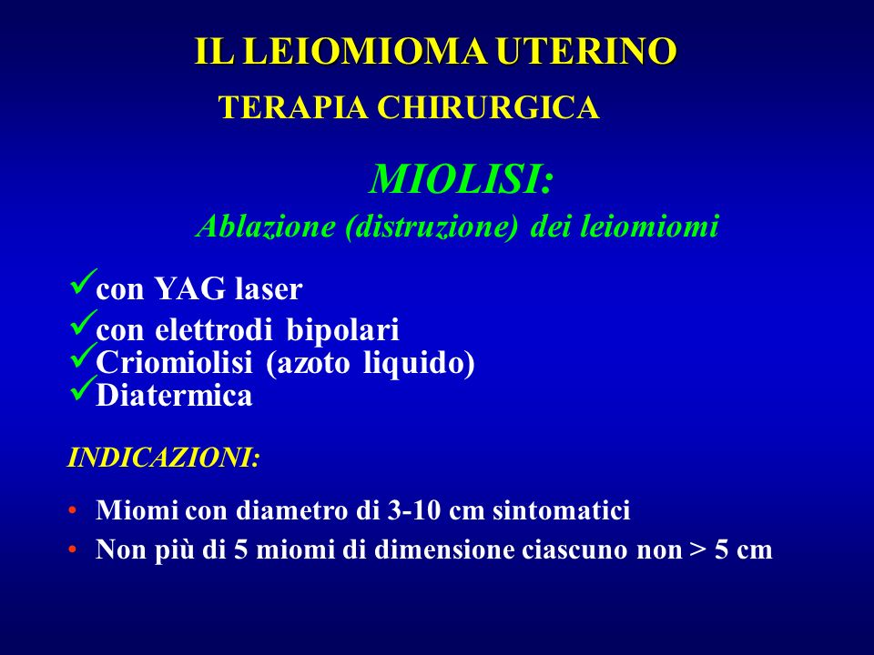 Ablazione (distruzione) dei leiomiomi