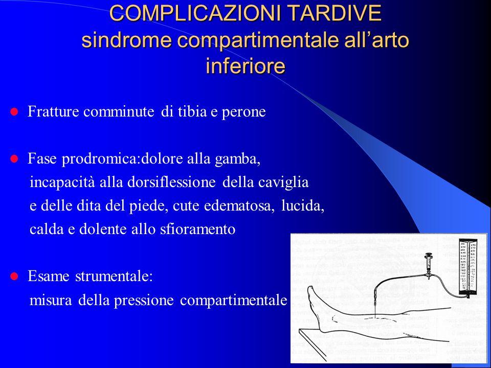 COMPLICAZIONI TARDIVE sindrome compartimentale all'arto inferiore