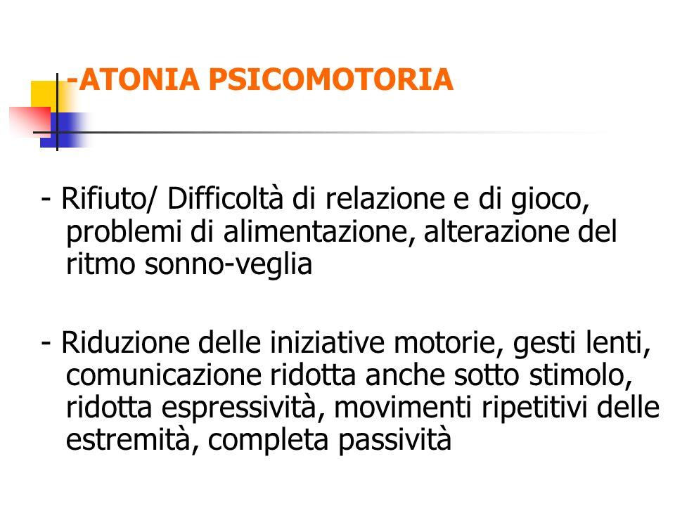 -ATONIA PSICOMOTORIA - Rifiuto/ Difficoltà di relazione e di gioco, problemi di alimentazione, alterazione del ritmo sonno-veglia.