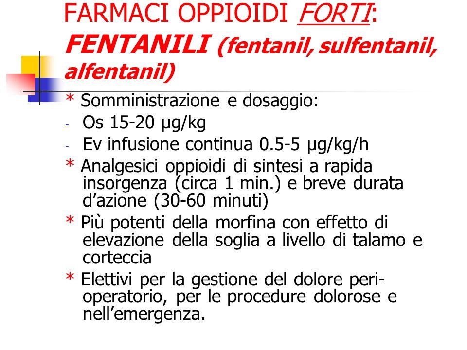 FARMACI OPPIOIDI FORTI: FENTANILI (fentanil, sulfentanil, alfentanil)
