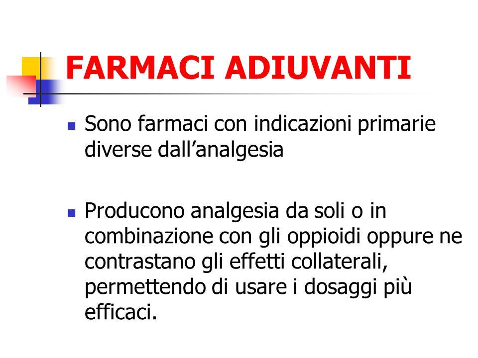 FARMACI ADIUVANTI Sono farmaci con indicazioni primarie diverse dall'analgesia.