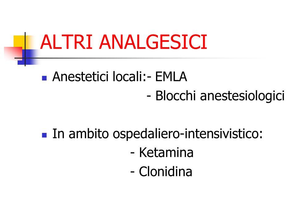 ALTRI ANALGESICI Anestetici locali:- EMLA - Blocchi anestesiologici