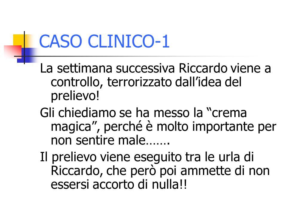 CASO CLINICO-1 La settimana successiva Riccardo viene a controllo, terrorizzato dall'idea del prelievo!