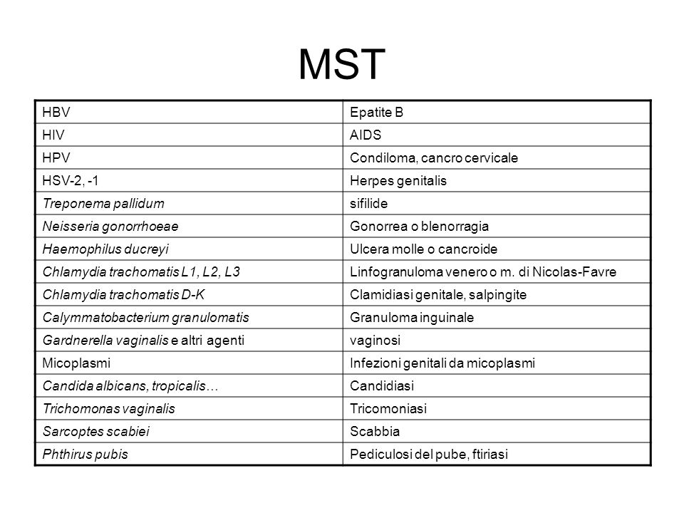 MST HBV Epatite B HIV AIDS HPV Condiloma, cancro cervicale HSV-2, -1