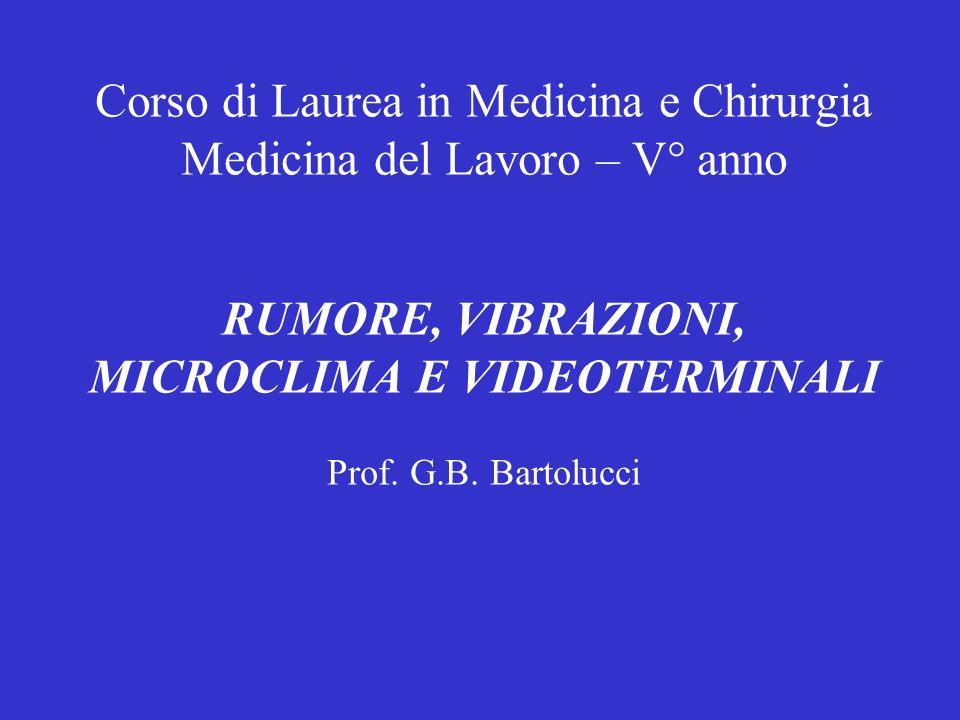 Corso di Laurea in Medicina e Chirurgia Medicina del Lavoro – V° anno RUMORE, VIBRAZIONI, MICROCLIMA E VIDEOTERMINALI Prof.