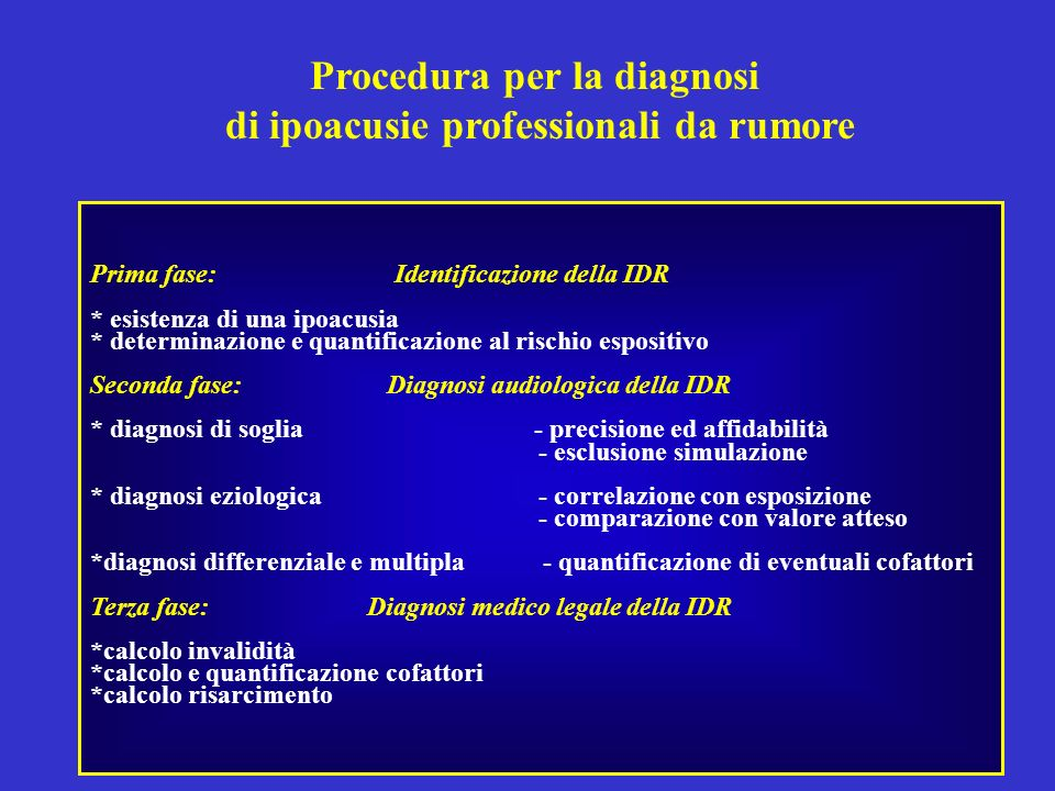 Procedura per la diagnosi di ipoacusie professionali da rumore