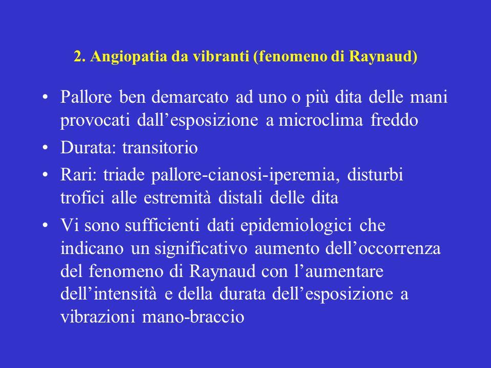 2. Angiopatia da vibranti (fenomeno di Raynaud)