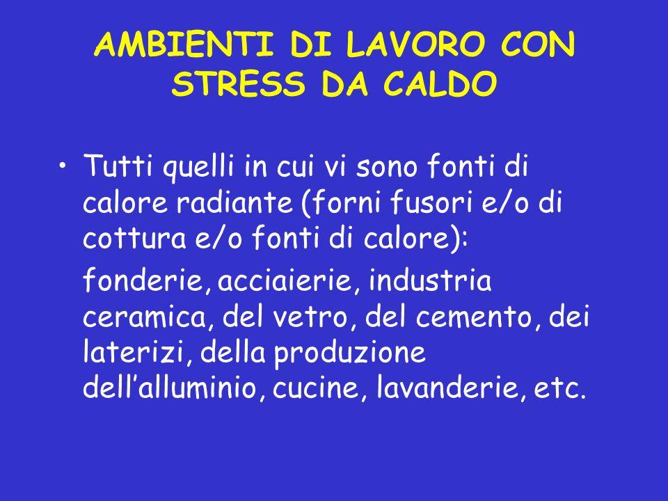 AMBIENTI DI LAVORO CON STRESS DA CALDO