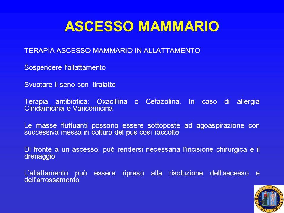 ASCESSO MAMMARIO TERAPIA ASCESSO MAMMARIO IN ALLATTAMENTO