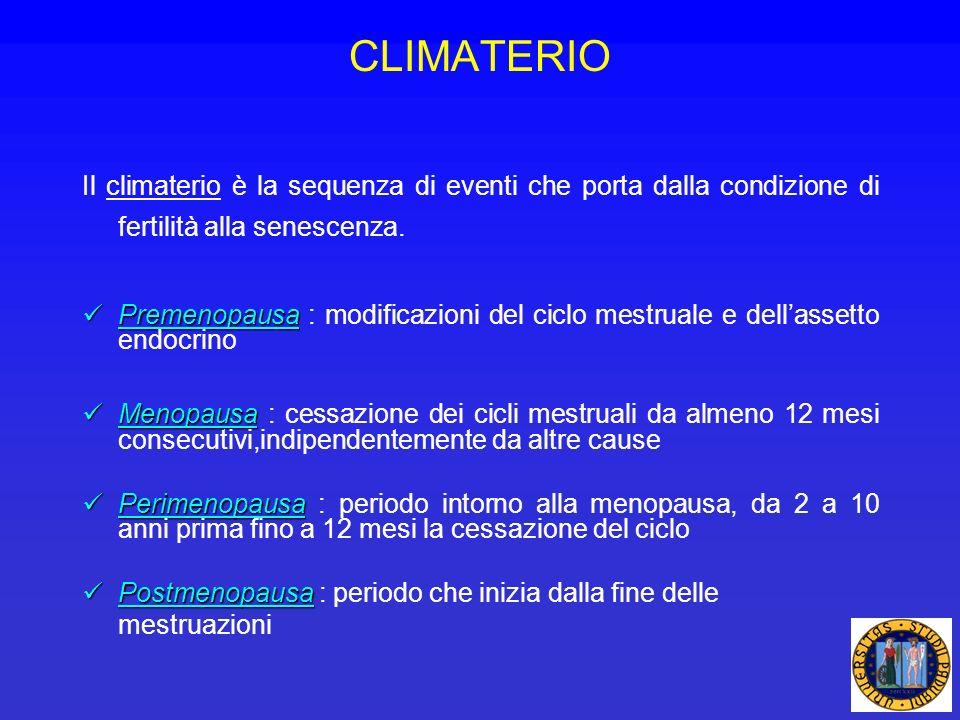CLIMATERIO Il climaterio è la sequenza di eventi che porta dalla condizione di fertilità alla senescenza.