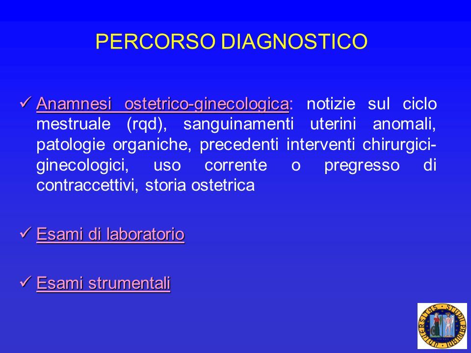 PERCORSO DIAGNOSTICO