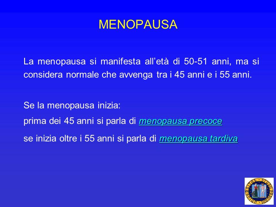 MENOPAUSALa menopausa si manifesta all'età di 50-51 anni, ma si considera normale che avvenga tra i 45 anni e i 55 anni.