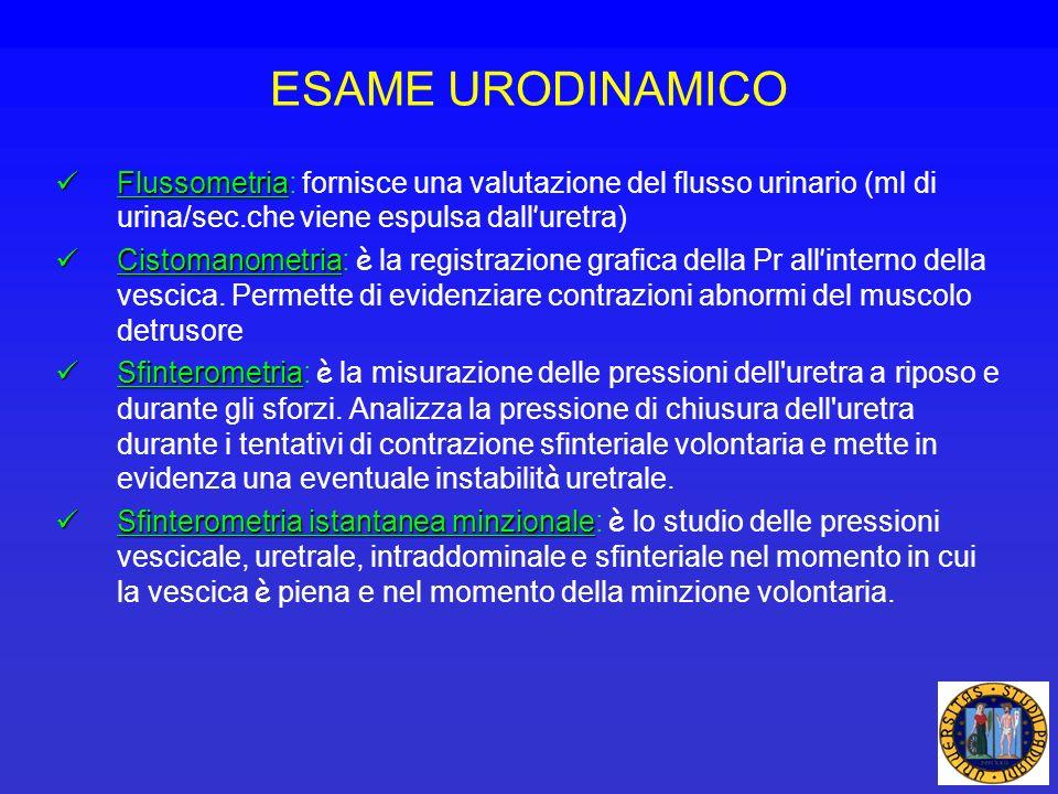 ESAME URODINAMICO Flussometria: fornisce una valutazione del flusso urinario (ml di urina/sec.che viene espulsa dall'uretra)