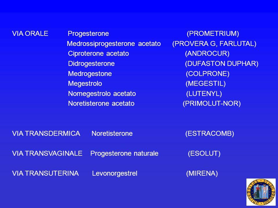 VIA ORALE Progesterone (PROMETRIUM)