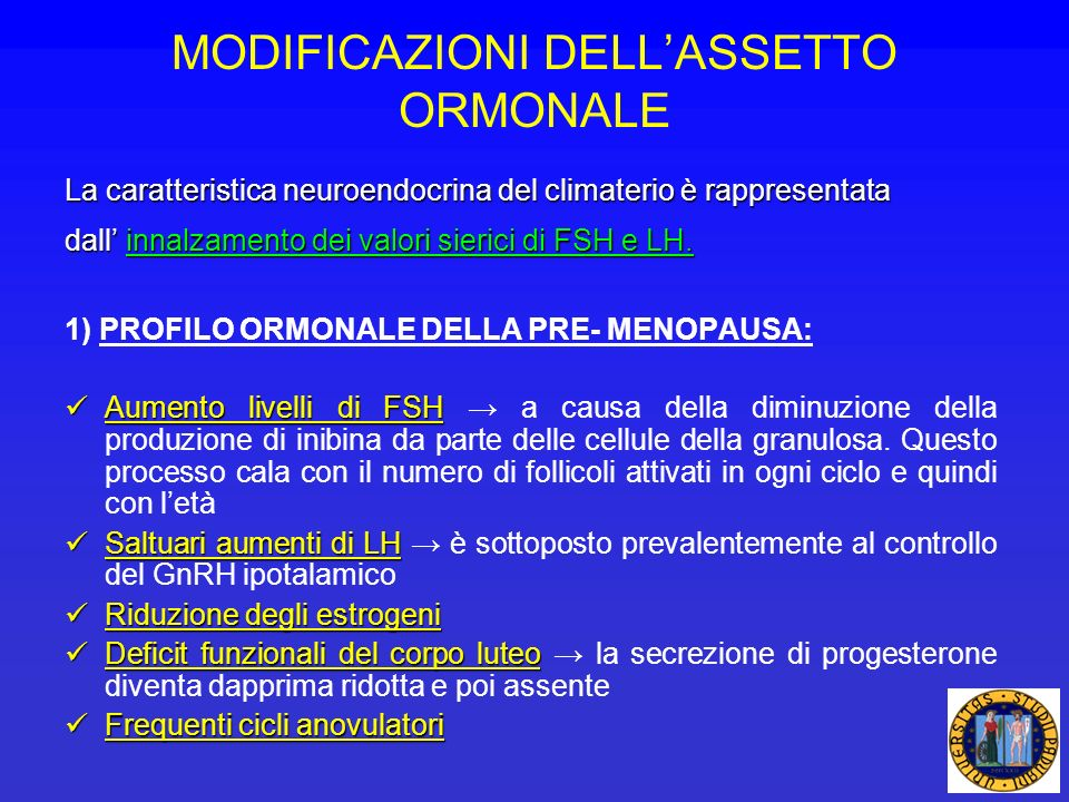 MODIFICAZIONI DELL'ASSETTO ORMONALE