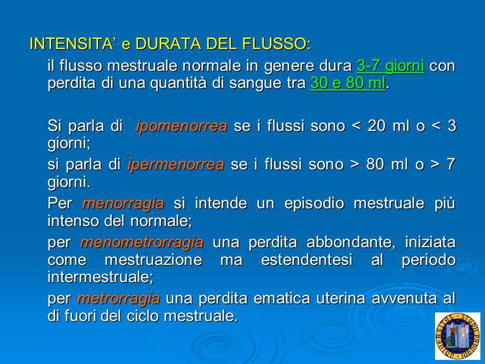 INTENSITA' e DURATA DEL FLUSSO: