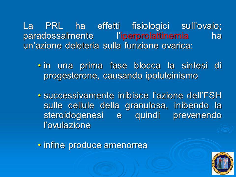 La PRL ha effetti fisiologici sull'ovaio; paradossalmente l'iperprolattinemia ha un'azione deleteria sulla funzione ovarica: