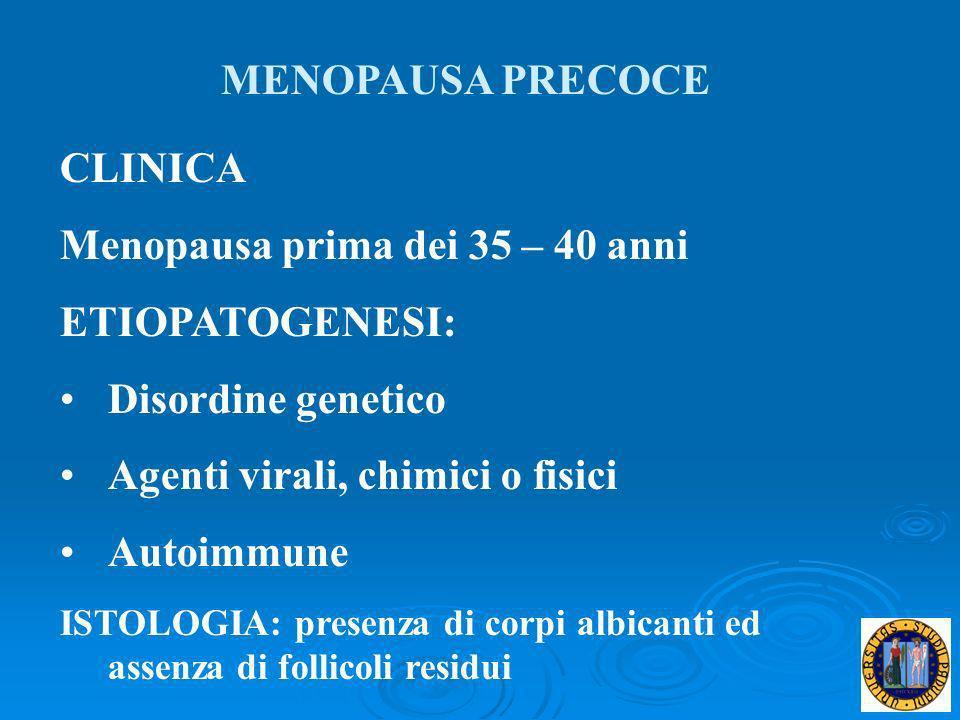 Menopausa prima dei 35 – 40 anni ETIOPATOGENESI: Disordine genetico